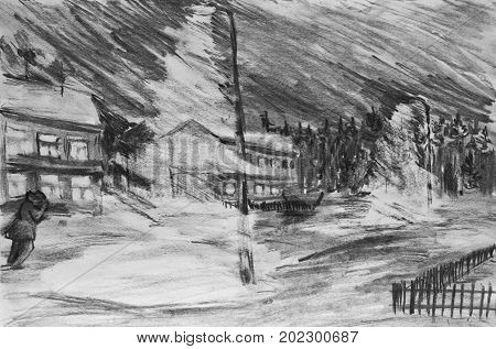 Night city. Snow storm. A charcoal drawing