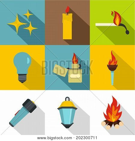 Light source icon set. Flat style set of 9 light source vector icons for web design