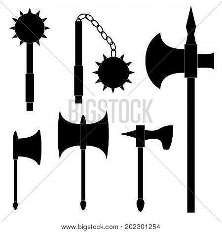 Set of medieval weapons. Axe poleaxe mace and kisten. Black silhouettes on white background.