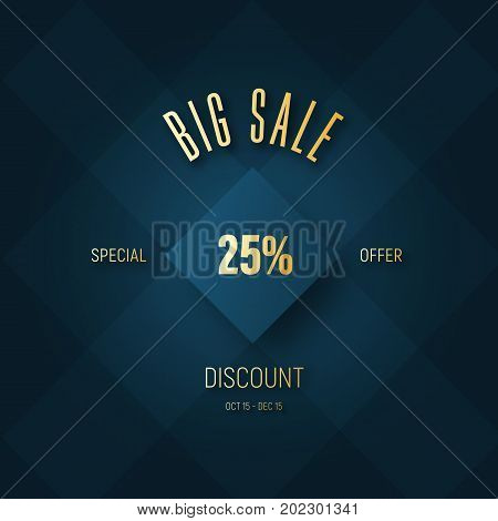 Vector Square Banner For A Big Sale And A Golden Percentage Discount
