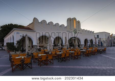 KOS, GREECE - DECEMBER 9, 2016: Evening view of the town of Kos in Greece on December 9, 2016.