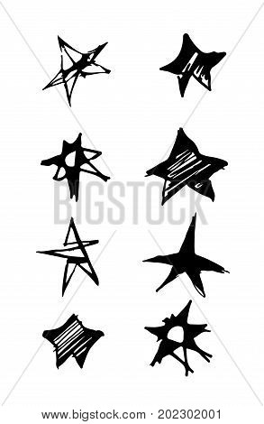 Star icons black and white. Vector illustration of hand drawn doodle seamless pattern with stars.