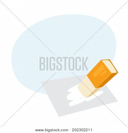 Eraser. Process of erase. Office work tool cartoon vector. Working in office, education, business concept.
