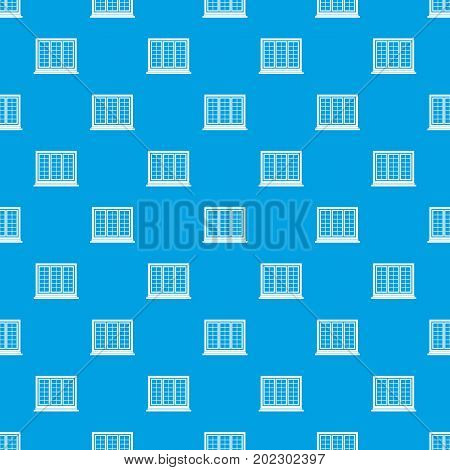 Wooden tricuspid window pattern repeat seamless in blue color for any design. Vector geometric illustration