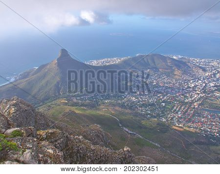 Lion's Head Mountain and Aerial View of Cape Town Coastline in the city of Cape Town, South Africa.Take from Table Mountain National Park.