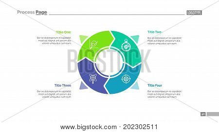 Circle infographics slide template. Business data. Graph, diagram, design. Creative concept for infographic, presentation, report. Can be used for topics like consumerism, planning, targeting