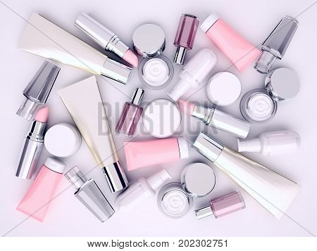 Cosmetic cream lipstik and perfume on gray background. Top view. 3D illustration poster