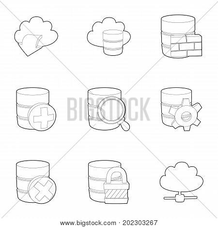 Data storage icons set. Outline set of 9 data storage vector icons for web isolated on white background