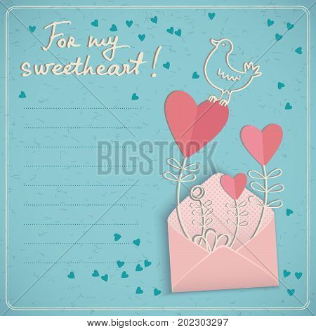 Doodle style valentines day love card with text field and cute bird and hearts in opened envelope for sweetheart vector illustration