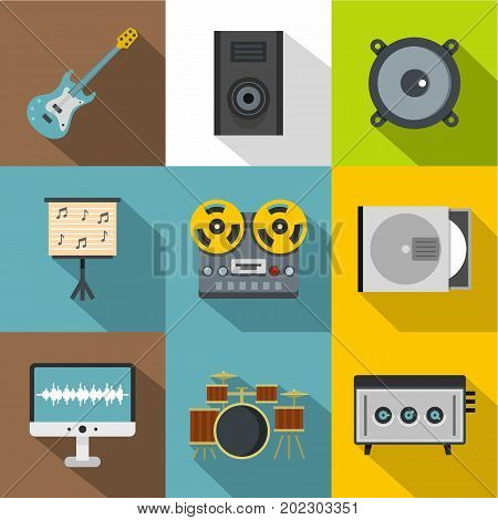 Music equipment icon set. Flat style set of 9 music equipment vector icons for web design