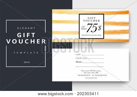 Trendy Abstract Gift Voucher Card Templates. Modern Discount Coupon Or Certificate Layout With Artis