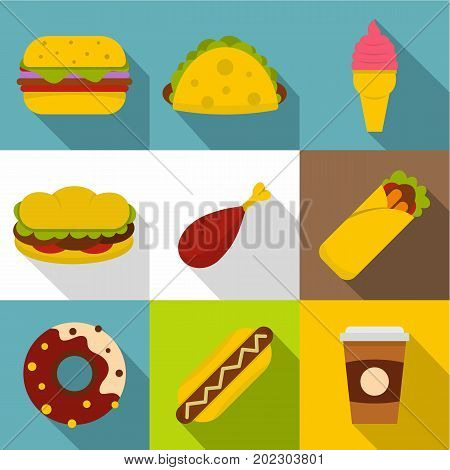 Street food icon set. Flat style set of 9 street food vector icons for web design