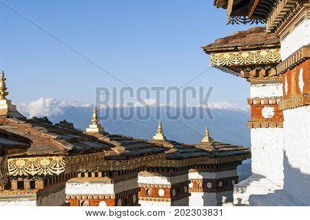 In this pass 108 memorial chortens or stupas known as Druk Wangyal Chortens have been built by Ashi Dorji Wangmo Wangchuk the eldest Queen Mother