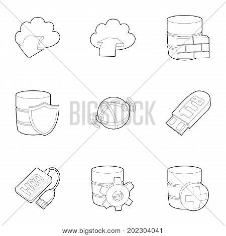 Safe storage icons set. Outline set of 9 safe storage vector icons for web isolated on white background