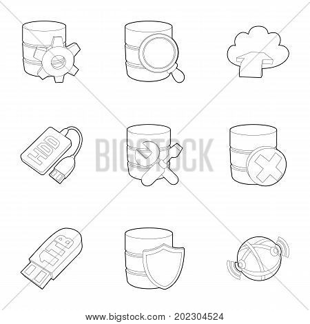 Storage interface icons set. Outline set of 9 storage interface vector icons for web isolated on white background