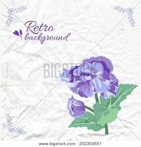 Vintage elegant background with beautiful purple flower green leaves on textured crumpled paper vector illustration