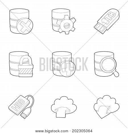 Storage technology icons set. Outline set of 9 storage technology vector icons for web isolated on white background