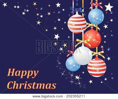 an illustration of an american style greeting card for celebrating christmas with patriotic decorations on a blue starry background