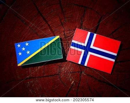 Solomon Islands Flag With Norwegian Flag On A Tree Stump Isolated