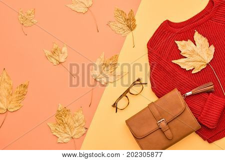 Autumn Arrives. Fashion Lady Clothes Set. Trendy Cozy Knit Jumper. Fashion Stylish Handbag Clutch, Vintage Glasses. Fall Leaves.Vanilla Pastel colors.