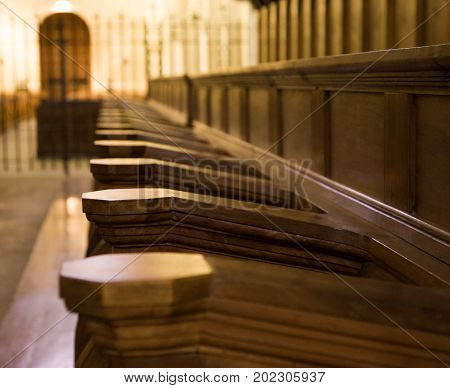 Church pews in monastery in Prolet Spain
