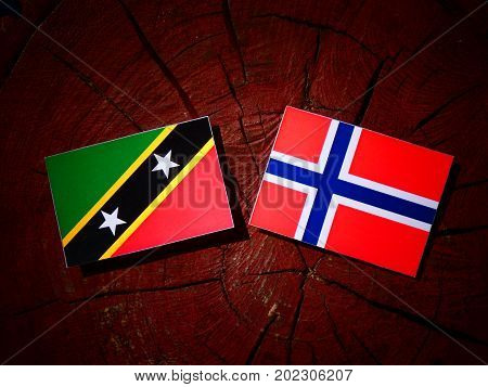 Saint Kitts And Nevis Flag With Norwegian Flag On A Tree Stump Isolated