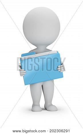 3d small person with a blue folder. 3d image. White background.