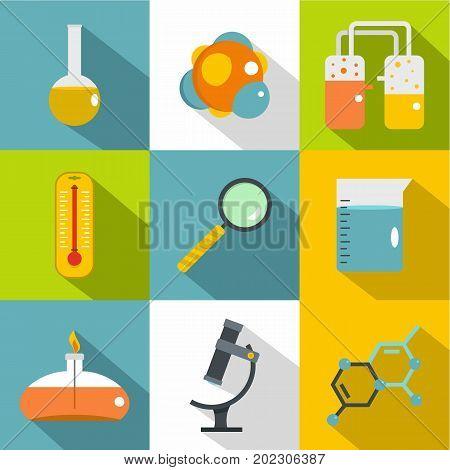 Chemical laboratory icon set. Flat style set of 9 chemical laboratory vector icons for web design