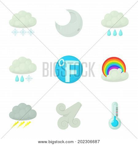 Weather forecast icons set. Cartoon set of 9 weather forecast vector icons for web isolated on white background
