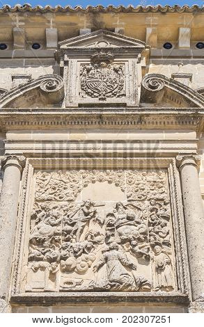 San Ignacio church facade details Baeza Jaen Spain