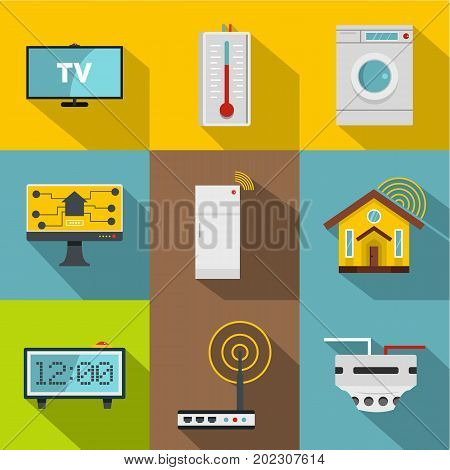 Smart home system icon set. Flat style set of 9 smart home system vector icons for web design