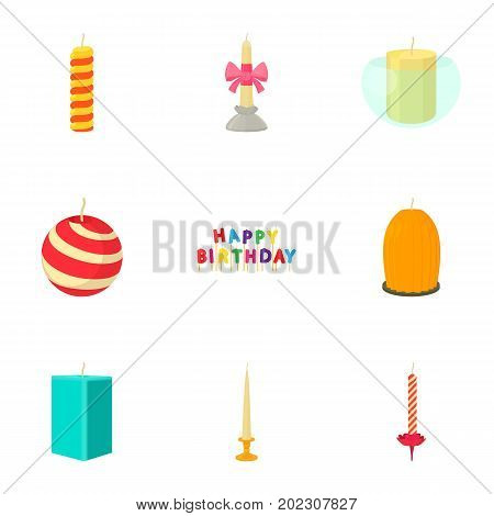 Candle for the holiday icons set. Cartoon set of 9 candle for the holiday vector icons for web isolated on white background