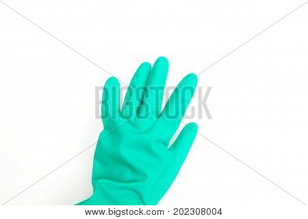 Left hand in green Chemical Rubber Glove for cleaning isolated on white background