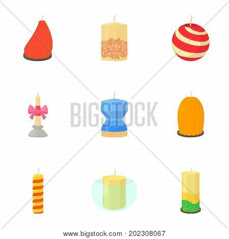 Different candles icons set. Cartoon set of 9 different candles vector icons for web isolated on white background
