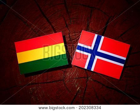 Bolivian Flag With Norwegian Flag On A Tree Stump Isolated