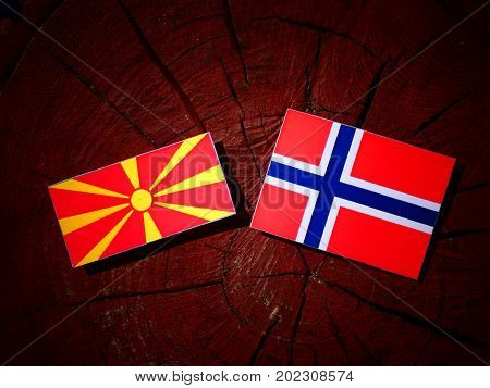 Macedonian Flag With Norwegian Flag On A Tree Stump Isolated