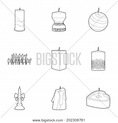 Candle icons set. Outline set of 9 candle vector icons for web isolated on white background