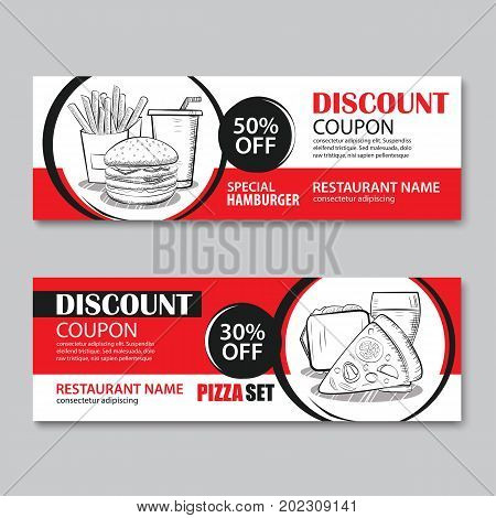 Fast food gift voucher and coupon sale discount template flat design. Vector set of hamburger french fries sandwich pizza hand drawn background.