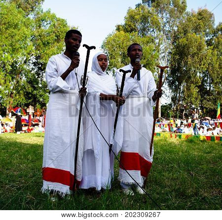 Novices at Ceremony of Meskel Holy Cross finding festival - 27.09.2012 Gonder Ethiopia