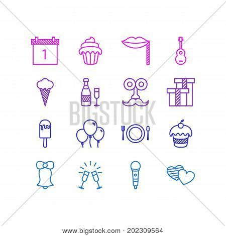 Editable Pack Of Decoration, Jingle, Man Style And Other Elements.  Vector Illustration Of 16 Banquet Icons.