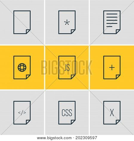 Editable Pack Of Document, Script, Style And Other Elements.  Vector Illustration Of 9 Document Icons.