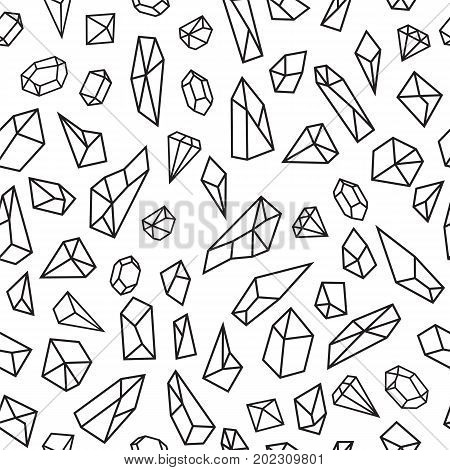 Geometric Seamless Pattern With Crystals. Polygonal Artistic Background With Crystal Shapes