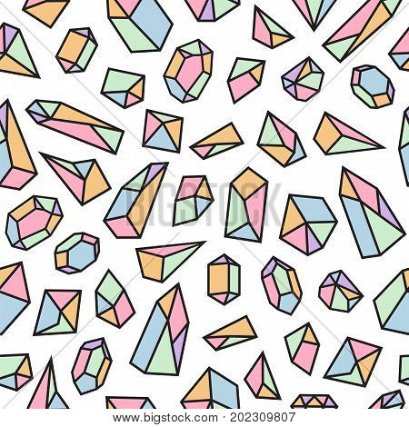 Geometric Seamless Pattern With Crystals. Polygonal Cute Artistic Background With Crystal Shapes