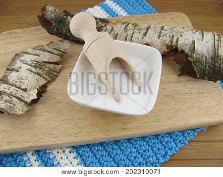 White birch sugar on a wooden board