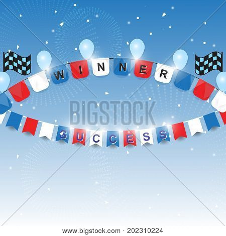 Winner and success flags with confetti stock vector