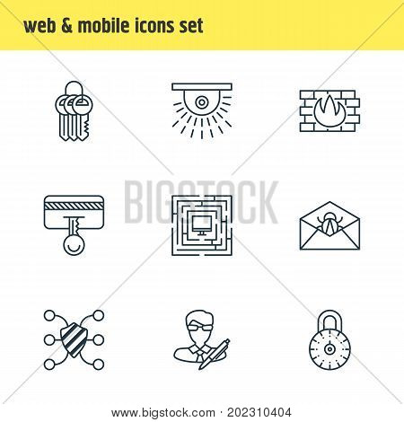 Editable Pack Of Corrupted Mail, Key Collection, Copyright And Other Elements.  Vector Illustration Of 9 Data Icons.