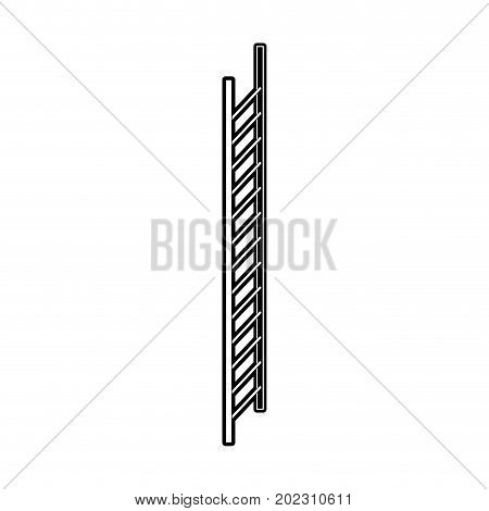 stair in vertical position black silhouette and thick contour vector illustration