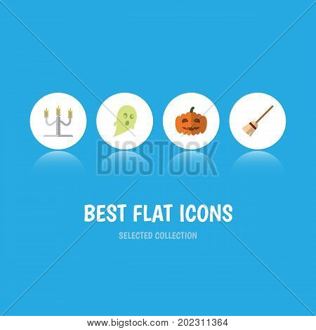 Flat Icon Celebrate Set Of Gourd, Broom, Phantom And Other Vector Objects