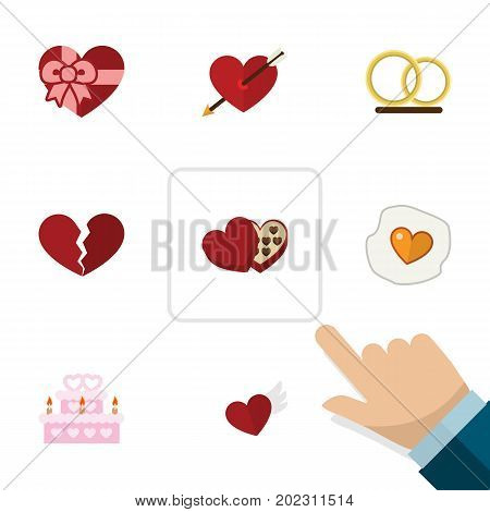 Flat Icon Love Set Of Divorce, Ring, Wings And Other Vector Objects