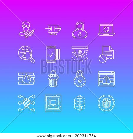 Editable Pack Of Data Error, Safeguard, Encoder And Other Elements.  Vector Illustration Of 16 Protection Icons.